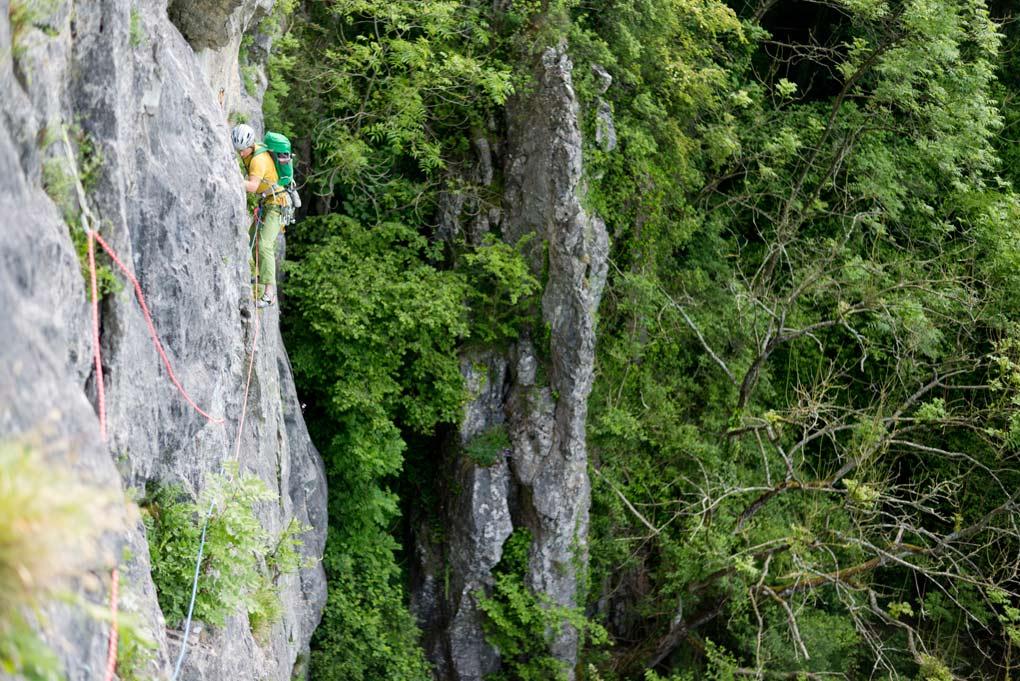 Coen tijdens de eerste lengte in La Trans-Freyrienne